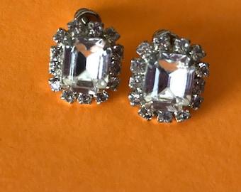 Early Two Tier Clear Rhinestone Pierced Stud Earrings
