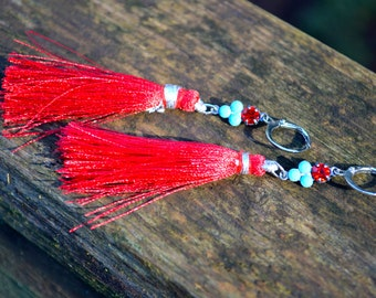Red Tassel Earrings with Turquoise Blue and Red Rhinestone charms long crimson red silk tassel boho earrings handmade jewelry gift