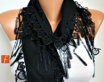 ON SALE --- Black Heart Pashmina Scarf Summer Scarf,Bridal Accessories,Teacher Gift, Cowl Bridesmaid Gift LOVE Gift Ideas  Women Fashion Acc