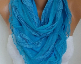 ON SALE --- Blue Lace Scarf,Wedding Shawl,Bridal Scarf,Bridal Accessories, Bridesmaid Gifts, Gift Ideas For Her, Women Fashion Accessories
