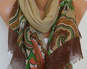 ON SALE --- Beige Floral  Cotton Scarf,Fall Shawl Cowl Oversize Wrap Gift Ideas For Her Women Fashion Accessories Mother Gift Scarves