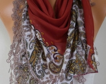 ON SALE --- Burnt Orange Paisley Scarf Teacher Gift Fall Cotton Oversize Scarf Necklace Cowl Scarf Gift Ideas for Her  Women Fashion Accesso