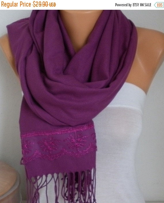 ON SALE --- Damson Pashmina Scarf, Plum Shawl,Lace,Boho,Wedding Scarf,Bridal Scarf,Bridesmaid Gift,Cowl,Gift Ideas For Her,Women Fashion,ove