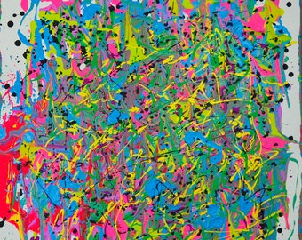 """Colorful Contemporary Abstract Painting by Artist Kellianne O'Brien """"Rhythm Tropical"""""""