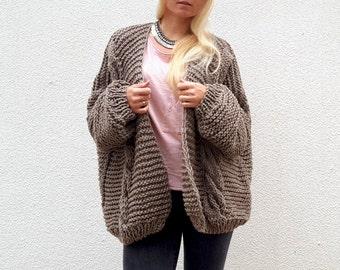 Merino Wool Chunky Cardigan. Choose Your Color.