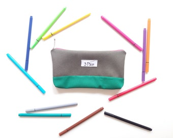 Toiletry Pouch / Pencil Case Olive Green / Zipper Cosmetic Bag / Earth Friendly Makeup bag / Eco-Friendly School Supplies Bag / by 3 Ptice