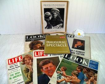 Collection of John F. Kennedy Memorabilia & Ephemera 11 Piece Collection Magazines, Inserts, Memorials, Souvenir Editions from 1960 - 1965