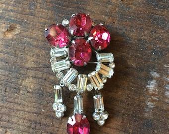 Vintage pink paste rhinestone  dangle brooch