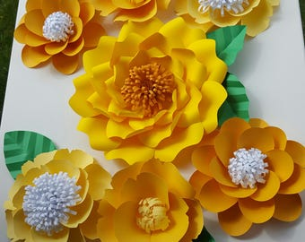 Large Yellow Citrus Paper Flowers Set of 7 Large Paper Flower Photo Prop Backdrop Decor DIY Backdrop RTS