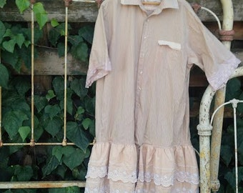 ruffly vintage tea dyed lace loose XL ticking ecru magnolia shabby boho fairy anthropologie like prairie girl gypsy ooak tunic dress layer