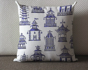Chinoiserie pillow Designer cotton linen Pillow -chinese pagoda pillow, blue Pillow - Throw Pillow 437