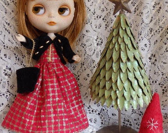 Handmade Blythe Party Dress, Velvet Jacket & Purse Dolly Dress Outfit