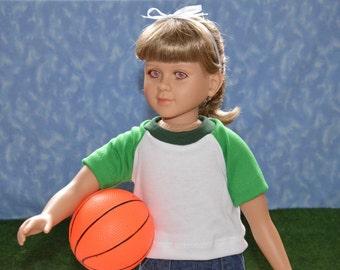 "23"" Boy or Girl Doll Clothes - Fits My Twinn - Green and White T-Shirt - Handmade"