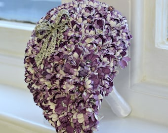 Teardrop Paper Flower, Button & Brooch Bouquet with matching Buttonhole