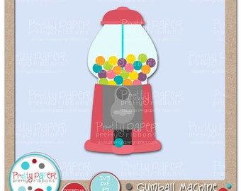 Gumball Machine Cutting Files & Clip Art - Instant Download