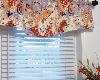Floral Paisley Shaped Valance Lined Curtain/ Custom Sizing Available!