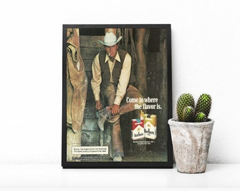 Cowboy in Barn • Cowboy Boots With Spurs • Marlboro 100s • Manly Cigarette Ad • Man in Cowboy Hat • 70s Smoking Magazine Ad • Man's Study