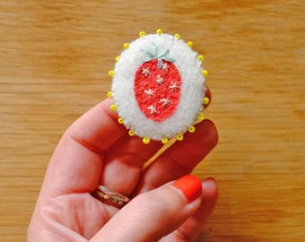 Hand Embroidered Strawberry Pin Brooch with yellow beads 100% Wool