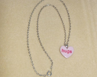 Valentines Candy Heart Necklace/Purple in color says HUGS/girls purple candy heart necklace/teens candy heart necklace in purple/purple hear