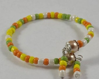 Bracelet:  Green/Orange/Yellow/White