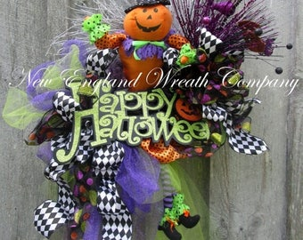 ON SALE Halloween Wreath, Fall Wreath, Elegant Halloween Wreath, Halloween Party Decor, Whimsical Halloween, Pumpkin Wreath