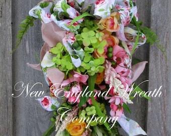 ON SALE Spring Wreath, Floral Swag, Elegant Easter Swag, Victorian Garden Wreath, Spring Floral Wreath, Country French, Designer Summer Wrea