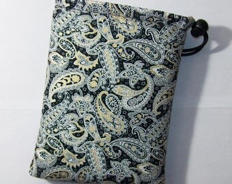 """Pipe Pouch, Pipe Case, Black Gold Paisley, Glass Pipe Bag, Padded Pipe Pouch, Stoner, Weed, 420, Cute Bag, Smoke Bag, Pouch - 7"""" DRAWSTRING"""