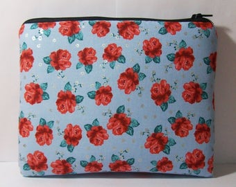 """Pipe Pouch, Red Roses Bag, Pipe Bag, Glass Pipe Case, Padded Pipe Pouch, Flowers Pouch, Smoke Accessory, Weed, Hippie, 7.5"""" x 6"""" - X LARGE"""