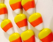 CLEARANCE Candy Corn Glass Beads 10 Beads NOT EDIBLE..Yellow Orange White 15 x 12 x 7 mm