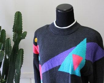 Vintage Foret De Framboise Geometric Pattern Sweater 1980s