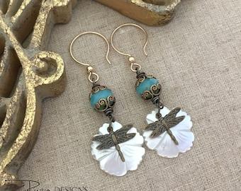 Everyday Boho Earrings - Boho Dangle Earrings - Bohemian Dragonfly Earrings - Flower Boho Earrings - Unique Gift Earrings For Her