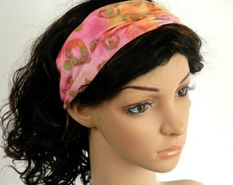 HEADBAND SALE Batik Headband Cotton Batik in Rainbow Sherbert Colors in Sage Green, Apple Green, Yellow, Tan, Orange, Peach and Cotton Candy