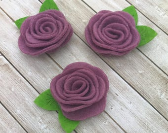 "2"" felt rosette with leaf, DUSTY PINK, felt rose flower, small felt flowers, DIY headband supplies, petite fabric flowers wholesale flowers"