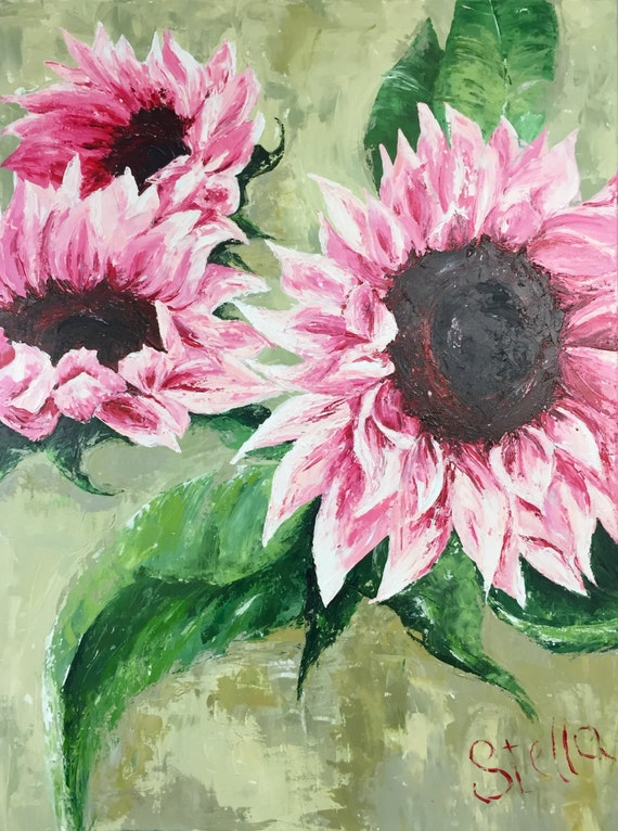 """PINK SoulFLOWERS - Original palette knife acrylic painting 36""""x48"""" pink sunflowers"""
