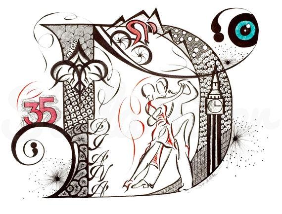Custom Hand Drawn Original  Monogram Letter D - 11x14  wall decor, wall art by Stella Viner