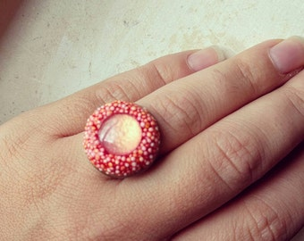 mini poly ring in peach hues - compact cocktail ring in vibrant colors