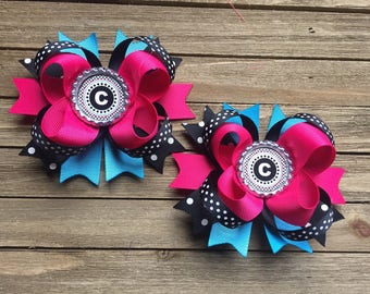 Monogrammed Pigtail hair bows - hot pink turquoise and black - beautiful boutique hair bows for girls
