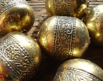 Moroccan  tarnished   large gold colour shiny ornate barrel bead