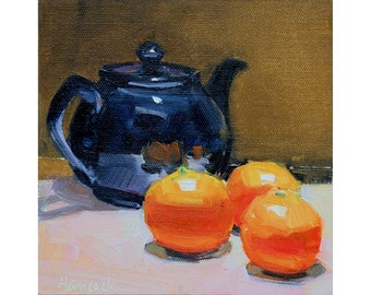 Blue Teapot with Clementines - Winter Still Life