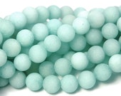 12mm Amazonite Round Beads in Matte Ocean Blue-Green -15 inch strand