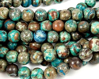 Ocean Agate 10mm Mottled Turquoise and Rusty Brown round -15.75 inch strand
