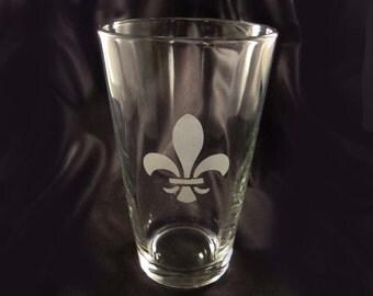 Etched Pint Glasses - Set of 4. Mix and Match Pint Glasses - Fleur De Leis Glasses - Custom Designed Pint Glasses