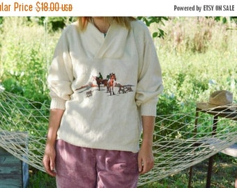 SALE Chunky Knitted Sweater with Horse Embroidery Vintage 80's