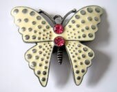 Large Butterfly with Pink Rhinestones Magnetic Needle Minder, Cross Stitch, Embroidery, Needlepoint
