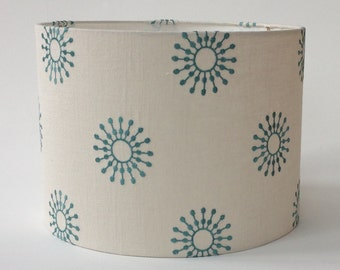 "Drum Lamp Shade in Aqua Embroidered Fabric 13"" Diameter X 9.5"" Tall- Ready to Ship"