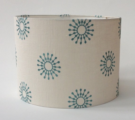 """Drum Lamp Shade in Aqua Embroidered Fabric 13"""" Diameter X 9.5"""" Tall- Ready to Ship"""