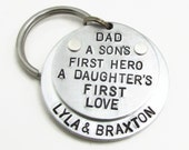 Personalized Dad Keychain - Personalized Keychain - Hand Stamped Key Chain - father daughter gift - Gift for Dad, Father's Day Gift