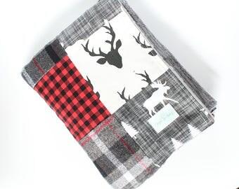 Lumberjack Baby Blanket, Red, Black, Gray, Moose, Deer, Flannel, Woodlands Minky Patchwork Blanket
