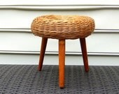 Vintage Woven Wicker or Rattan Stool - Mid Century Furniture, Rustic Modern, Tony Paul Design, Footstool, Boho, Jungalow Style, Organic Seat