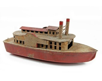 toy boat , steel, steam toy boat, metal, red, vintage toy, vintage boat, nautical toy, red